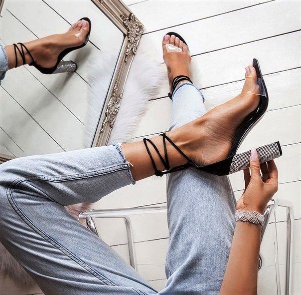 Велурени сандали кристали EMIRATES - черни